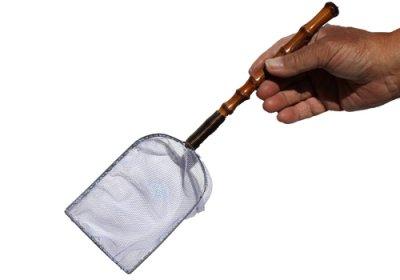 手作り 根鞭柄(ねぶちえ)選別網 白色 扇型